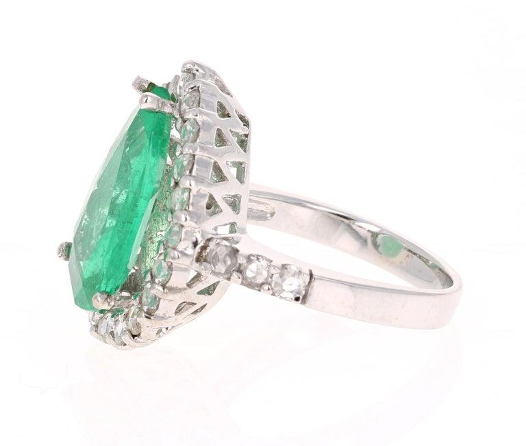 Late Victorian 5.67 Carat Emerald Diamond 14 Karat White Gold Ring For Sale