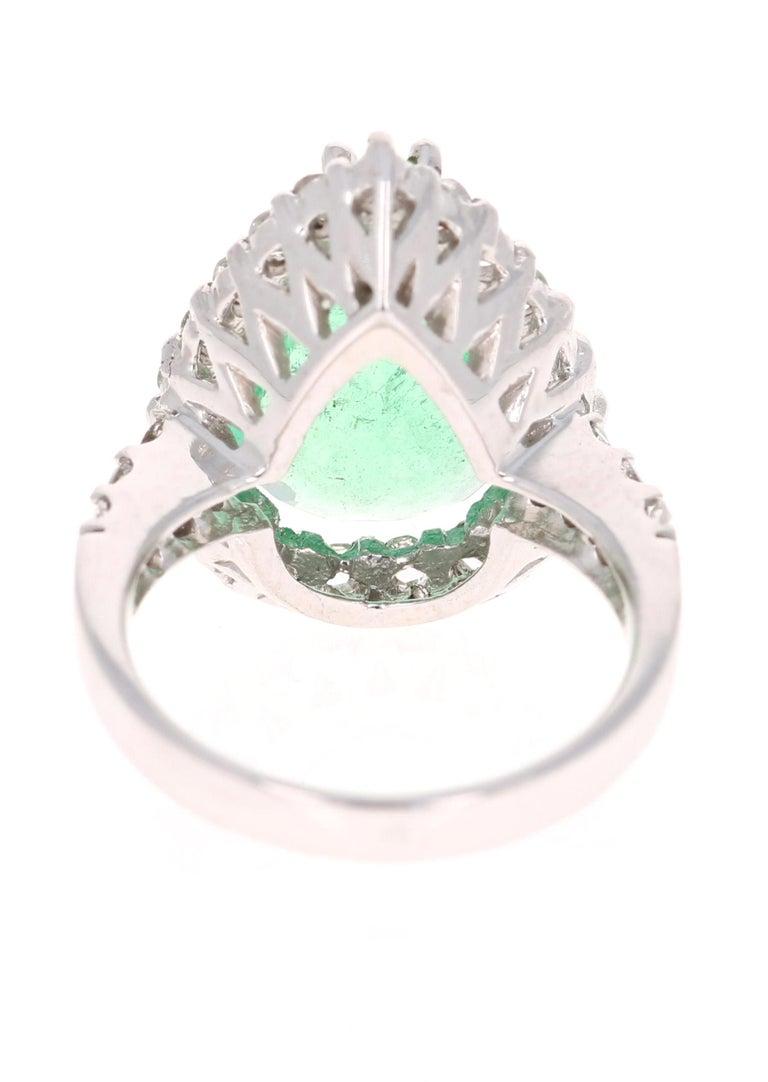 Pear Cut 5.67 Carat Emerald Diamond 14 Karat White Gold Ring For Sale