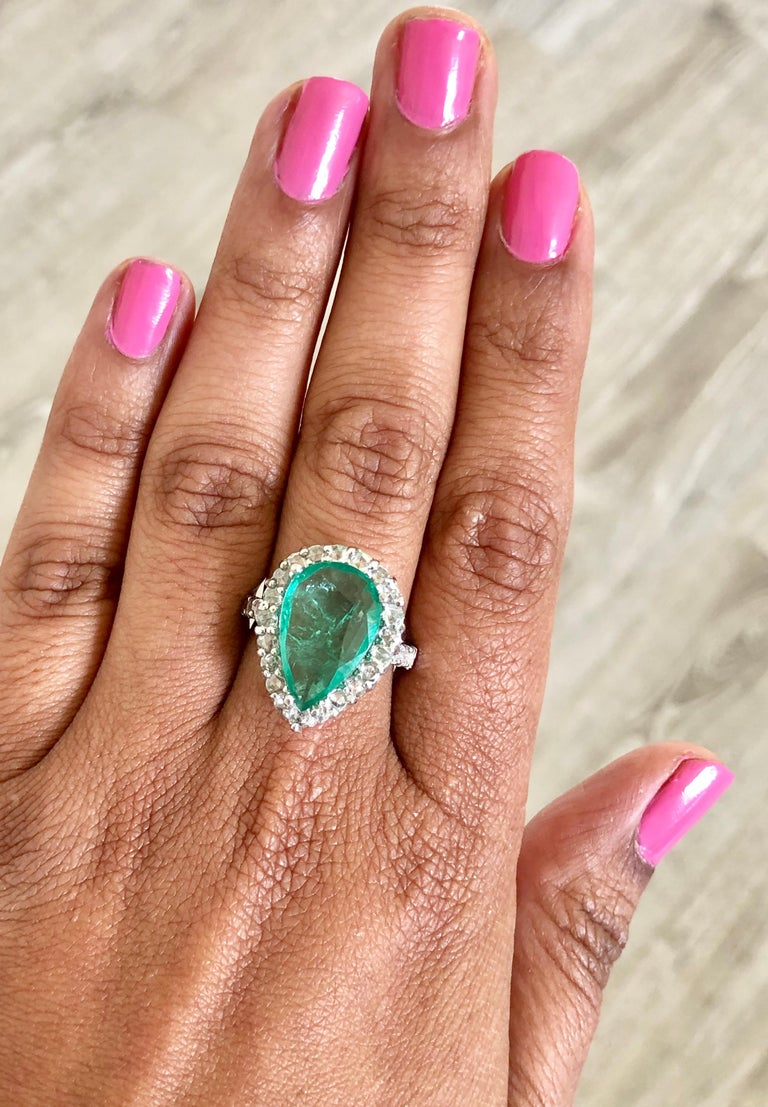5.67 Carat Emerald Diamond 14 Karat White Gold Ring In New Condition For Sale In Los Angeles, CA