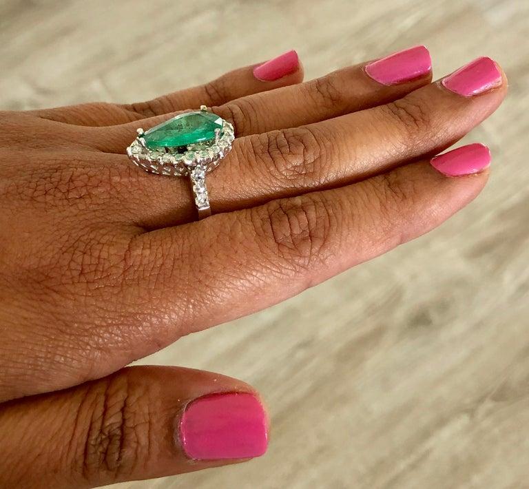 Women's 5.67 Carat Emerald Diamond 14 Karat White Gold Ring For Sale