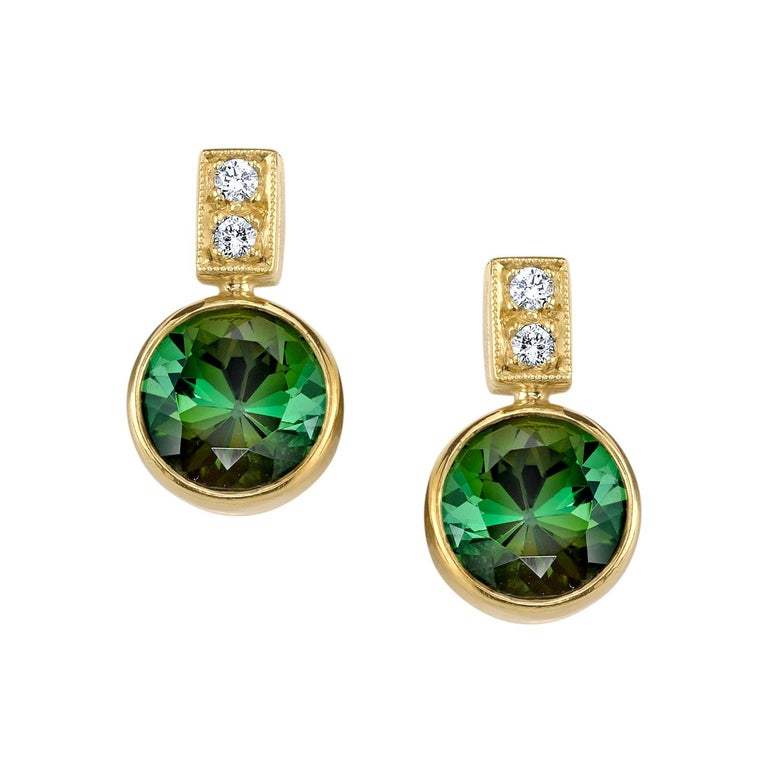 5.67 ct. t.w. Green Tourmaline Round Drop, Diamond 18k Yellow Gold Stud Earrings For Sale