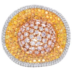 5.67 Carat Natural Pink and Yellow Diamond Cluster Ring