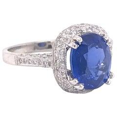 5.67 Carat Sri Lanka Blue Sapphire Diamond Engagement Ring
