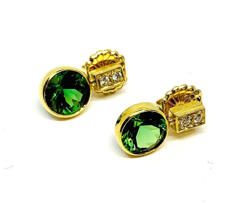 5.67 ct. t.w. Green Tourmaline Round Drop, Diamond 18k Yellow Gold Stud Earrings For Sale 1