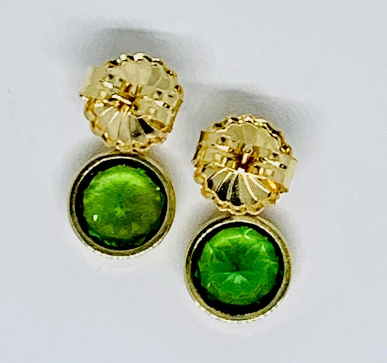 5.67 ct. t.w. Green Tourmaline Round Drop, Diamond 18k Yellow Gold Stud Earrings For Sale 2