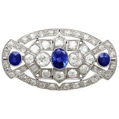 5.68 Carat Diamond and 2.35 Carat Sapphire Platinum Brooch