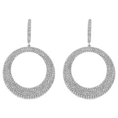 5.68 Carat Micro Pave Diamond Circle Dangle Earrings