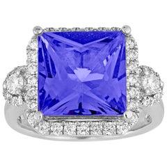 5.68 Carat Princess Cut Tanzanite Diamond Gold Milgrain Ring