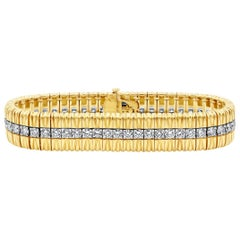 5.68 Carat Round Diamond Yellow Gold and Platinum Bracelet