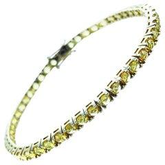 5.68 Carat Yellow Sapphire & 18Kt Yellow Gold Unisex Tennis Bracelet