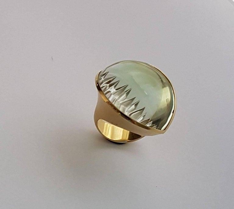 Women's 56.86 Carat Lime-Green Tourmaline Gold Ring
