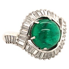 5.69 Carat Colombian Emerald and Diamond Ring in Platinum 950