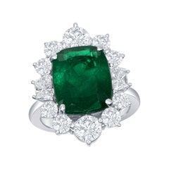 5.69 Carat Emerald and Diamond Ring with 2.60 Carat Set in Platinum