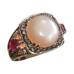 5.69 Carat Moonstone Rose Gold Halo Ring