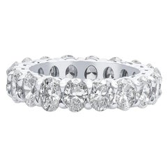 5.69 Carat Total Weight Oval Natural Diamond Eternity Band in Platinum