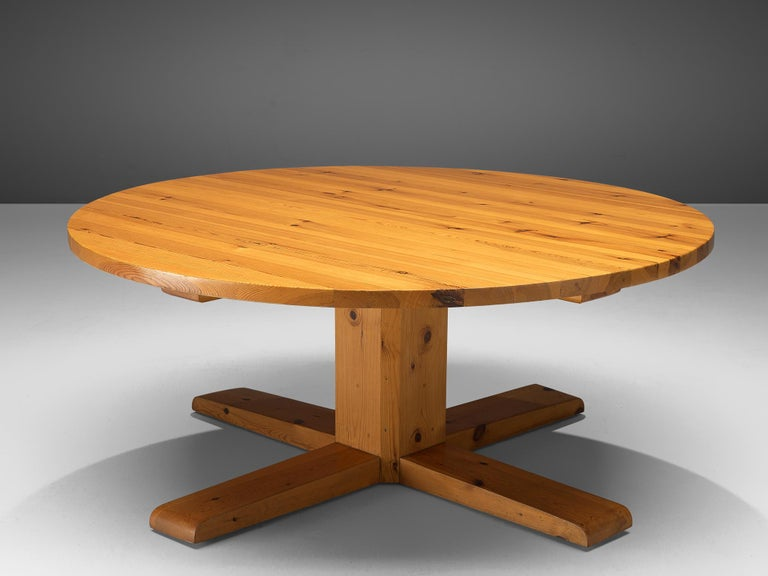 Large dining table, solid pine, Spain, 1950s  This remarkable table holds a strong expression due to several aspects that are all typical for Spanish Midcentury design. First the use of solid pine wood holds a rural and robust aesthetic. Secondly,