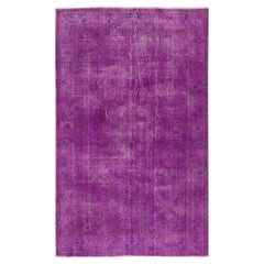 5.6x9 Ft One-of-a-Kind Vintage Art Deco Chinese Design Rug Over-Dyed in Purple
