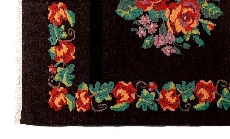 Moldovan 5.7x9.9 Ft Vintage Bessarabian Kilim, Floral Handwoven Wool Rug from Moldova For Sale