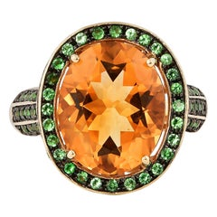 5.7 Carat Citrine, Tsavorite and Diamond Ring in 14 Karat Yellow Gold