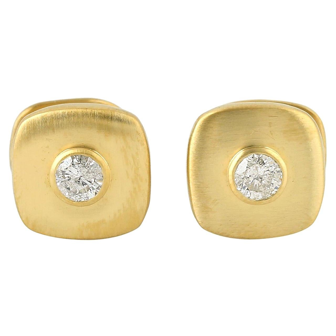 .57 Carat Diamond 10 Karat Yellow Gold Cufflinks
