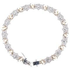 .57 Carat Diamond White Yellow Gold Link Bracelet