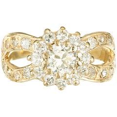 .57 Carat Diamond Yellow Gold Infinity Engagement Ring