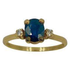 .57 Carat Sapphire Diamond Ring 14 Karat Gold Wedding Engagement Stacking