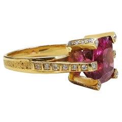 5.7 Carat Tourmaline Diamonds 18 Karat Yellow Gold Cocktail Ring