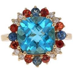 5.70 Carat Cushion Cut Blue Topaz Sapphire Diamond 14 Karat Gold Cocktail Ring