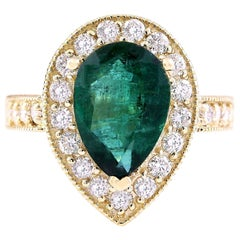 5.70 Carat Natural Emerald 18 Karat Solid Yellow Gold Diamond Ring