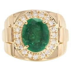 5.70 Carat Natural Emerald and Diamond 18 Karat Solid Yellow Gold Men's Ring