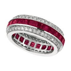 5.70 Carat Natural Ruby and Diamond Eternity Ring Band 14 Karat White Gold