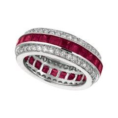 5.70 Carat Natural Ruby and Diamond Eternity Ring Band 14 Karat White Gold