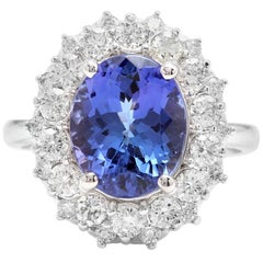 5.70 Carat Natural Tanzanite and Diamond 14 Karat Solid White Ring