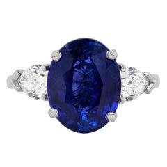 5.70 Carat Oval Blue Sapphire and Diamond Platinum Engagement Ring