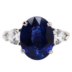 5.70 Carat Oval Blue Sapphire and Diamond Platinum Engagement Ring