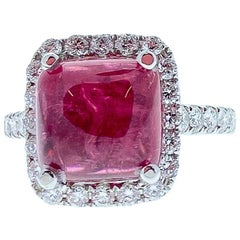 5.70 Carat Rubellite Tourmaline Diamond Cocktail Ring in 18 White Gold