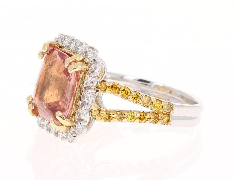 Modern 5.70 Carat Tourmaline Yellow Diamond 18 Karat White Gold Engagement Ring For Sale