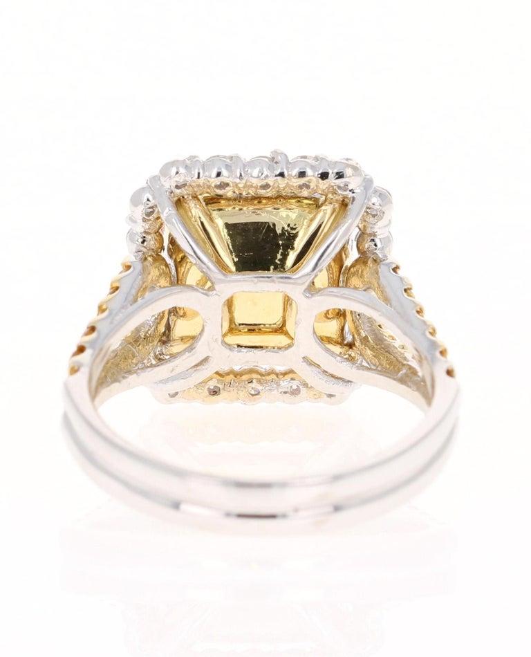 Cushion Cut 5.70 Carat Tourmaline Yellow Diamond 18 Karat White Gold Engagement Ring For Sale