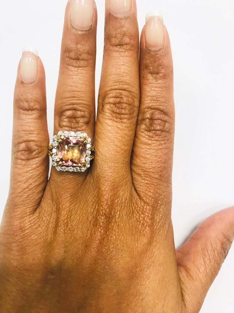 5.70 Carat Tourmaline Yellow Diamond 18 Karat White Gold Engagement Ring In New Condition For Sale In Los Angeles, CA