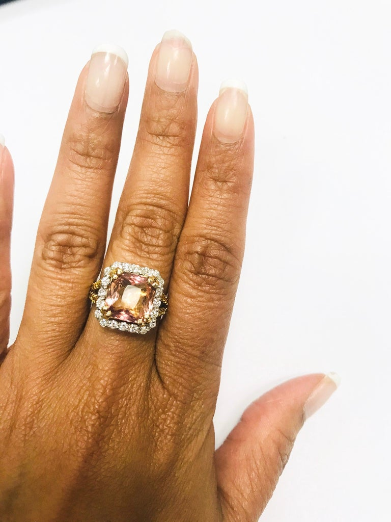 Women's 5.70 Carat Tourmaline Yellow Diamond 18 Karat White Gold Engagement Ring For Sale