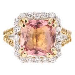 5.70 Carat Tourmaline Yellow Diamond 18 Karat White Gold Engagement Ring