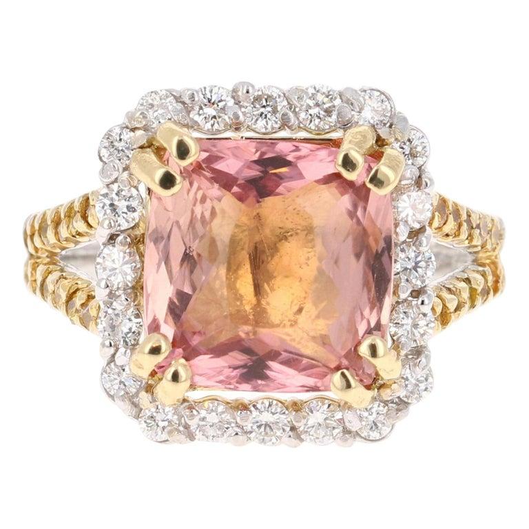 5.70 Carat Tourmaline Yellow Diamond 18 Karat White Gold Engagement Ring For Sale