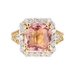 5.70 Carat Tourmaline Yellow Diamond 18 Karat White Gold Engagement Ring