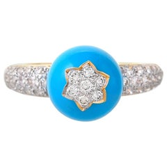 5.70 Carat Turquoise and Diamond Ring