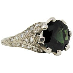 5.70 Carat Green Sapphire and Pave Diamond Platinum Vintage Solitaire Ring