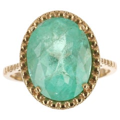 5.70cts 18K Colombian Emerald Oval Cut Solitaire Gold Ring