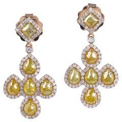 5.71 Carat Fancy Diamond 18 Karat Gold Earrings