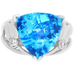 5.71 Carat Trillion Blue Topaz and Diamond Ring