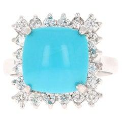 5.71 Carat Turquoise Diamond 14 Karat White Gold Cocktail Ring